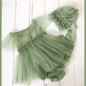 Handmade Jeweled Baby Dress, Bonnet, & Bloomers